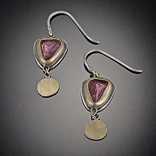 Rose Cut Pink Tourmaline with 22k Disks by Ananda Khalsa (Gold, Silver & Stone Earrings)