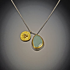 Aquamarine and Large Diamond Bud Necklace by Ananda Khalsa (Gold, Silver, & Stone Necklace)