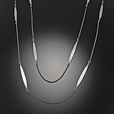 Long Leaf Chain Necklace by Ananda Khalsa (Silver Necklace)