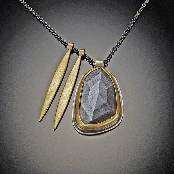 Moonstone and Gold Long Leaf Necklace