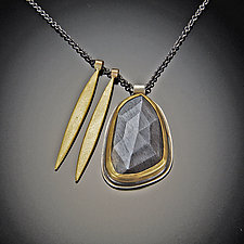Moonstone and Gold Long Leaf Necklace by Ananda Khalsa (Gold, Silver, & Stone Necklace)