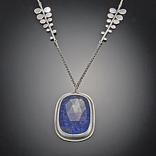 Lapis Necklace on Fern Chain by Ananda Khalsa (Silver & Stone Necklace)
