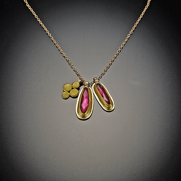 Long Ruby and Small Disk Gold Charm Necklace