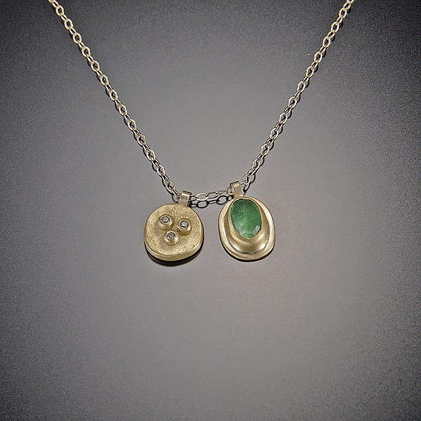 Small Diamond Bud and Emerald Necklace