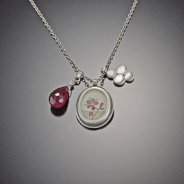 Plum Blossom Charm Necklace with Ruby Drop