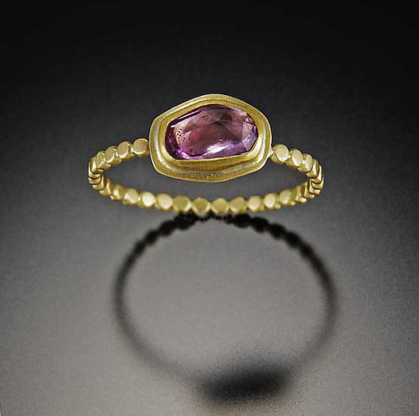 Pink Sapphire Ring with Tiny Hammered Dot Band