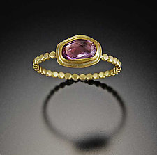 Pink Sapphire Ring with Tiny Hammered Dot Band by Ananda Khalsa (Gold & Stone Ring)