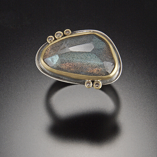 Rose Cut Labradorite Ring with Five Diamond Dots