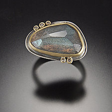 Rose Cut Labradorite Ring with Five Diamond Dots by Ananda Khalsa (Gold, Silver, & Stone Ring)