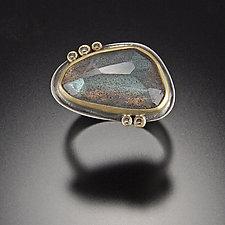 Rose Cut Labradorite Ring with Five Diamond Dots by Ananda Khalsa (Gold, Silver, & Stone Ring)