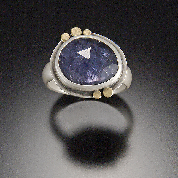 Rose Cut Iolite Ring with Five 22k Dots