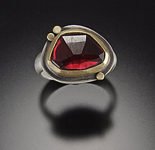 Rose Cut Garnet Ring by Ananda Khalsa (Silver & Stone Ring)