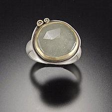 Rose Cut Pale Green Sapphire Ring with Two Diamond Dots by Ananda Khalsa (Gold, Silver, & Stone Ring)