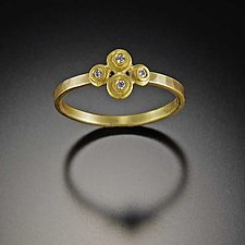 Raised Dot Diamond Ring by Ananda Khalsa (Gold & Stone Ring)