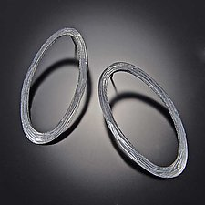 Grooved Oval Earrings by Dahlia Kanner (Silver Earrings)