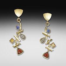 Multi-Stone Treasure Earrings by Suzanne Q Evon (Gold & Stone Earrings)