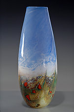Powder Landscape Cylinder by Nolan  Prohaska (Art Glass Vase)