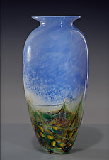 Powder Landscape Amphora by Nolan  Prohaska (Art Glass Vase)