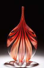 Red & Orange Cane Bottle by Chris McCarthy (Art Glass Vessel)