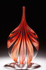Red & Orange Cane Bottle by Chris McCarthy (Art Glass Vessel)
