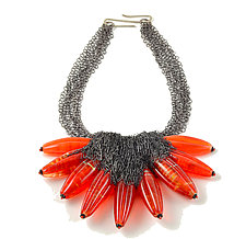Calyx Neckpiece - Flame by Kate Rothra Fleming (Art Glass Necklace)