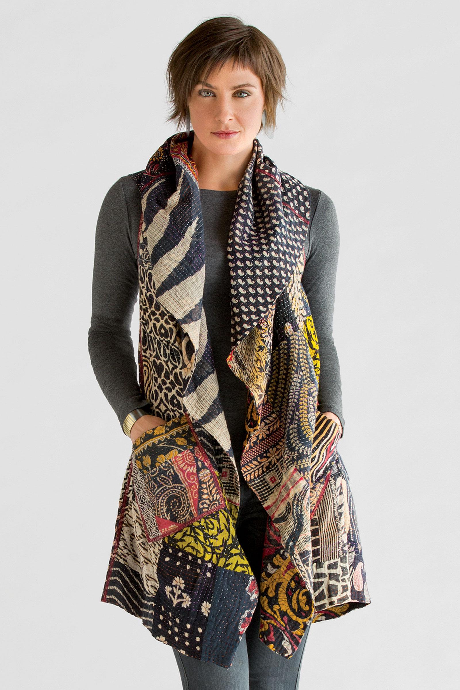 Kantha patchwork vest by mieko mintz cotton