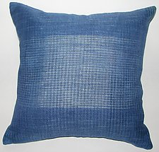 Blue Relaxed Square Pillow by Anne Bossert (Linen Pillow)