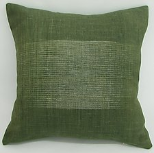 Green Relaxed Square Pillow by Anne Bossert (Linen Pillow)