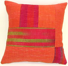 Orange Patchwork Pillow by Anne Bossert (Silk & Linen Pillow)