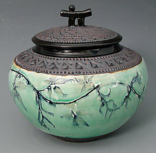 Chubby Oriental Jar in Green by Suzanne Crane (Ceramic Jar)
