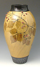 Tall Amber Vase with Red Berries by Suzanne Crane (Ceramic Vase)