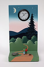 Fir Tree at Dusk by Pascale Judet (Painted Clock)