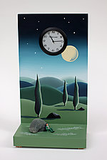 Taking a Break From Nightime by Pascale Judet (Painted Clock)