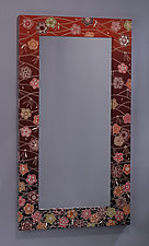Plum Blossom and Bamboo Mirror by Jenna Goldberg (Wood Mirror)