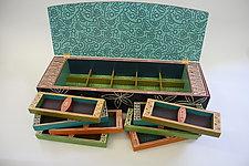 Blue Dot Jewelry Box by Jenna Goldberg (Wood Jewelry Box)