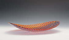 Tapestry Oval Bowl in Jewel Tones by Richard Parrish (Art Glass Bowl)