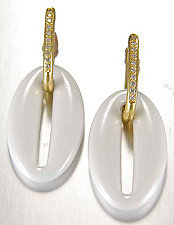 Ceramique Diamond Dangle Earrings by Etienne Perret (Gold, Stone, & Ceramic Earrings)