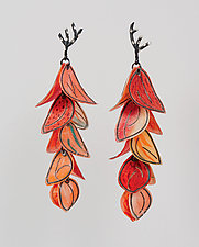 Upturned Petal Blossom Earrings by Carol Windsor (Silver & Paper Earrings)
