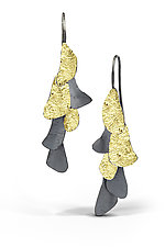 Small Oxidized Silver and Gold Curly Bark earrings 6 by Lori Gottlieb (Gold & Silver Earrings)