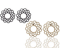 Modern Vintage Rosettes by Diana Widman (Gold or Silver Earrings)