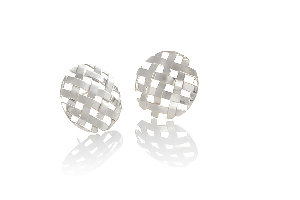 Silver Hand-Woven Circle Earrings