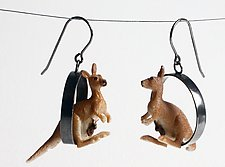 Kangaroo Earrings by Kristin Lora (Silver Earrings)