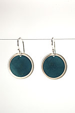 Bezeled Coconut Shell Earrings by Ayala Naphtali (Silver & Wood Earrings)