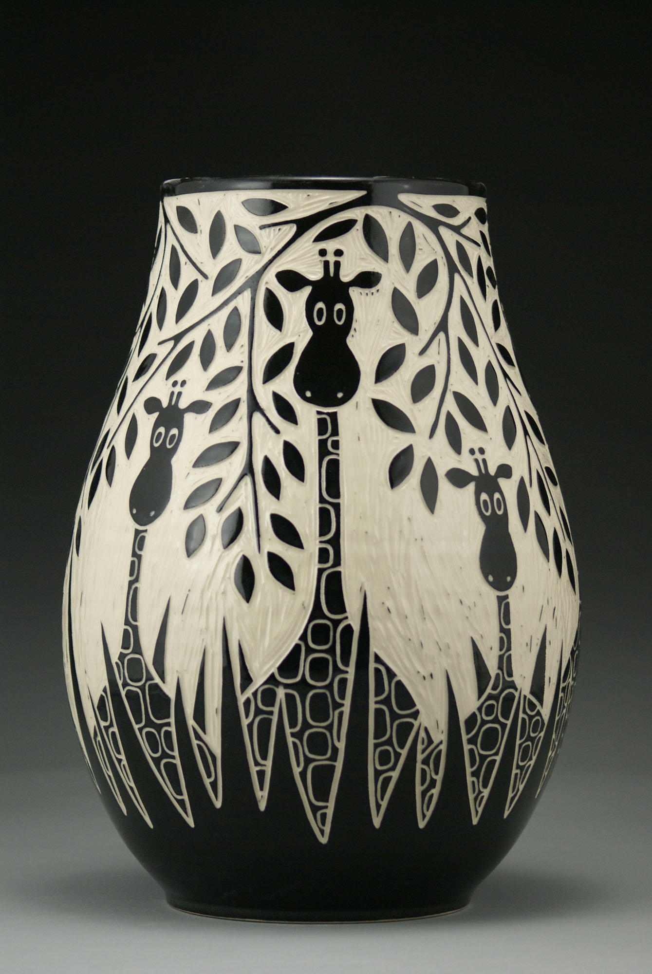 Giraffes In The Wild By Jennifer Falter Ceramic Vase