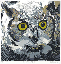 Great Horned Owl by Barbara  Stikker (Linocut Print)