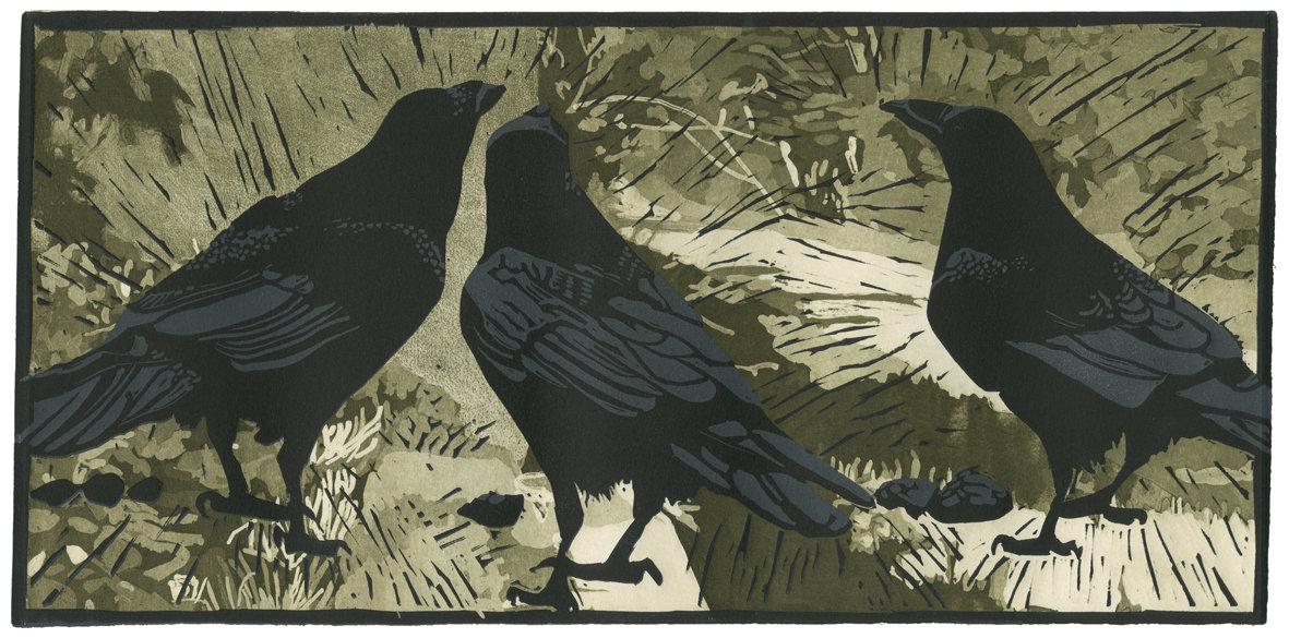 Ravens Wood By Barbara Stikker Linocut Print Artful Home