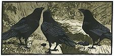 Ravens' Wood by Barbara  Stikker (Linocut Print)