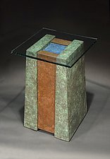 Lapis Pool Pedestal Table by David M Bowman and Reed C Bowman (Metal Pedestal Table)