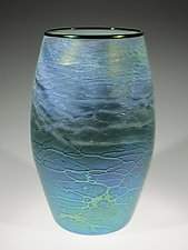 Blue-Green Cylinder by Tom Stoenner (Art Glass Vase)