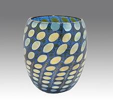 Blue Shiny Transparent Nutty Bowl by Thomas Philabaum (Art Glass Bowl)